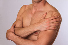Sport injury, Man with shoulder pain. Pain relief concept Royalty Free Stock Photos