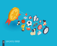 Sport integrated 3d web icons. Growth and progress concept. Sport integrated 3d web icons. Digital network isometric progress concept. Connected graphic design Royalty Free Stock Image