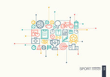 Sport integrated thin line symbols. Royalty Free Stock Photo