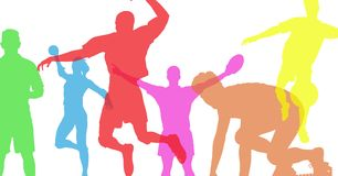 Sport intense color silhouettes. Royalty Free Stock Photo