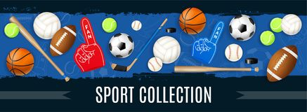 Sport Inventory Realistic Illustration. Sport inventory collection with basketball soccer rugby tennis balls puck hockey stick baseball bat realistic icons royalty free illustration