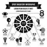 Sport inventory infographic concept, simple style. Sport inventory infographic banner concept. Simple illustration of sport inventory infographic vector poster Stock Photography