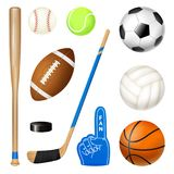 Sport Inventory Realistic Set. Sport inventory realistic icons set of volleyball basketball football balls hockey stick and baseball bat vector illustration Royalty Free Stock Images