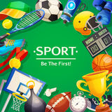 Sport Inventory Vector Illustration. Colorful poster on sport theme with wishing to be first and set of inventory items on green background  flat vector Royalty Free Stock Photo