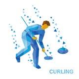 Sport invernali - arricciando Modo della radura del giocatore del fumetto lapidare illustrazione vettoriale