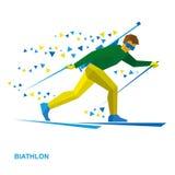 Sport invernali - biathlon Biathlete del fumetto con un fucile Fotografie Stock
