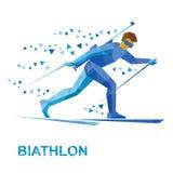 Sport invernali - biathlon Sci andante del biathlete del fumetto Fotografia Stock Libera da Diritti