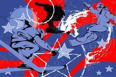 Sport invernali dipinti di astrazione nei colori blu e rossi illustrazione di stock
