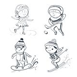 Sport invernali, sportivi di schizzo di vettore Fotografia Stock Libera da Diritti