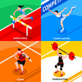 Sport Isometric Concept. With athletes and sportsmen involving in summer and winter competition isolated vector illustration Stock Photos