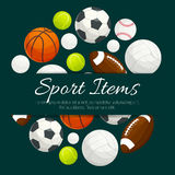 Sport items and balls vector label emblem Royalty Free Stock Image
