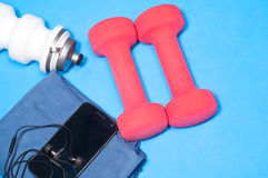 Sport items on the blue mat Stock Photo