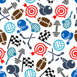Sport items color seamless pattern Royalty Free Stock Photo