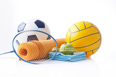 Sport items and dietary food Stock Photo