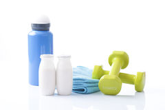 Sport items, fitness dumbbels Royalty Free Stock Image