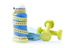 Sport items, fitness dumbbels Stock Image
