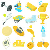 Sport items icons set, cartoon style. Sport items icons set. Cartoon illustration of 16 sport items vector icons for web Stock Image
