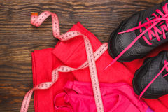 Sport items on the wooden background Stock Photos