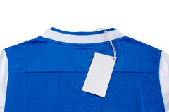 Sport jersey shirt. Close - up Blank tag label on sport jersey shirt Stock Images