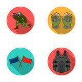 Sport, jeu, paintball, concurrence Les icônes réglées de collection de Paintball dans le style plat dirigent le Web courant d'ill Photos libres de droits