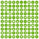100 sport journalist icons hexagon green. 100 sport journalist icons set in green hexagon isolated vector illustration Stock Image