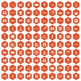 100 sport journalist icons hexagon orange. 100 sport journalist icons set in orange hexagon isolated vector illustration stock illustration