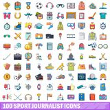 100 sport journalist icons set, cartoon style Stock Images