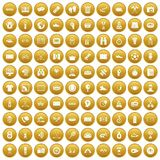 100 sport journalist icons set gold. 100 sport journalist icons set in gold circle isolated on white vectr illustration Stock Illustration