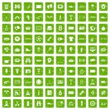 100 sport journalist icons set grunge green. 100 sport journalist icons set in grunge style green color isolated on white background vector illustration Royalty Free Stock Photo