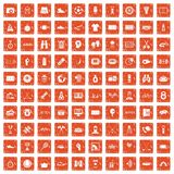 100 sport journalist icons set grunge orange. 100 sport journalist icons set in grunge style orange color isolated on white background vector illustration Stock Photos