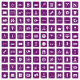 100 sport journalist icons set grunge purple Royalty Free Stock Images