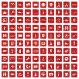 100 sport journalist icons set grunge red. 100 sport journalist icons set in grunge style red color isolated on white background vector illustration Stock Photography