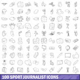 100 sport journalist icons set, outline style Stock Photography