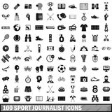 100 sport journalist icons set, simple style. 100 sport journalist icons set in simple style for any design vector illustration Stock Images