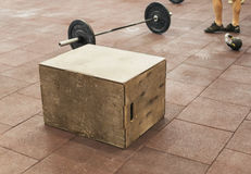 Sport jumping box close up in the gym Stock Image