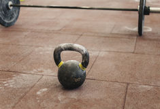 Sport kettlebell close up in the gym Stock Photo
