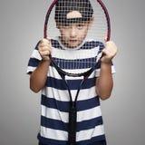 Sport kid with tennis racquet. Little Boy Playing Tennis. Sport kids. Child with tennis racquet stock photos