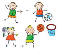 Sport kids. Little children presenting different kinds of sport vector illustration