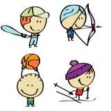 Sport kids. Set of doodle happy sport children Stock Photos