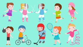 Sport kids characters boys and girls sportsmen play games kids activity children playing various sports games hockey stock illustration