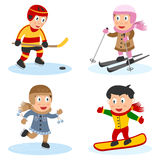 Sport Kids Collection [4]. Collection of four kids playing sport (ice hockey, skiing, ice skating and snowboarding), isolated on white background. Eps file stock illustration