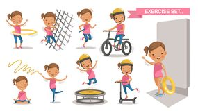 Sport Kids. Exercise Little girl set. Sport Kids with play swimming In the swimsuit holds a rubber ring. Climbing net, Running, cycling, Hula Hoop, yoga vector illustration
