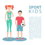 Sport kids. Healthy lifestyle. Physically active girl and boy. Royalty Free Stock Photos