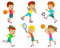 Sport for kids. Kids,boys and girls sport activities collection, illustration,vector Stock Photo