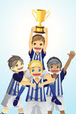 Sport kids lifting trophy Royalty Free Stock Photo