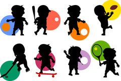 Sport Kids Silhouettes [1]. Various cartoon kids silhouettes playing different sports. Take a look also at the file 'Kids Silhouettes [Sport 2]', available in my royalty free illustration