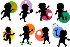 Sport Kids Silhouettes [2]. Various cartoon kids silhouettes playing different sports. Take a look also at the file 'Kids Silhouettes [Sport 1]', available in my vector illustration