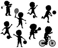 Sport Kids Silhouettes Set. Collection of cartoon kids silhouettes playing different sports, isolated on white background. Eps file available Stock Image