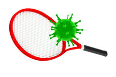 Sport Kill the Virus Concept. Tennis Racket with Virus. 3d Rende. Sport Kill the Virus Concept. Tennis Racket with Virus on a white background. 3d Rendering Stock Images