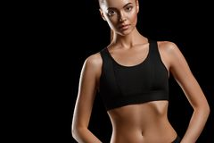 sport Kobieta sporta ciało silny i piękny z dumbbells zdjęcie royalty free